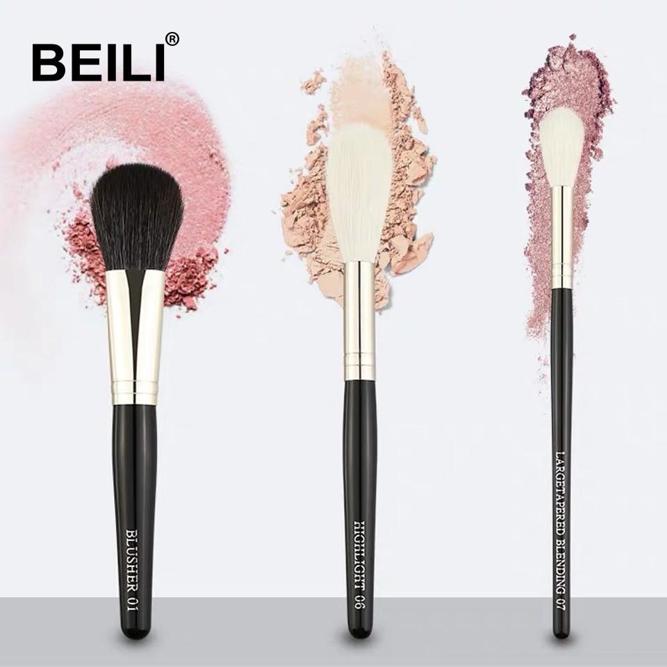 BEILI haute qualité petit kit de brosse poudre noire Blush fond de teint cheveux synthétiques pinceaux de maquillage sans cruauté