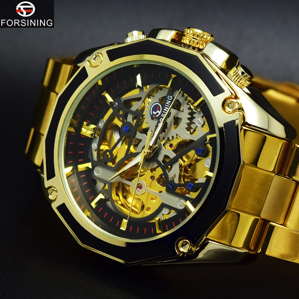 Prix pour Forsining montre en or hommes montres top marque de luxe célèbre automatique montre mécanique hommes montre-bracelet homme horloge relogio masculino