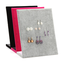 Fashion L Shaped Velvet 30 Pairs Dangle Earring Stand Holder Earrings Ear Studs Jewelry Display Shelf Showcase Organizer Case