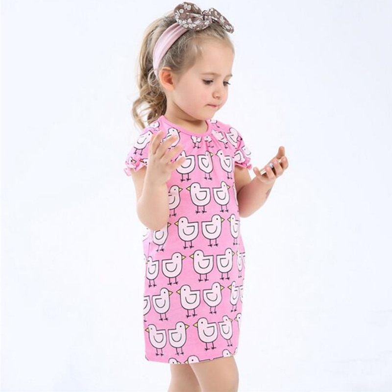 New Summer Style Girls Dress 100% Cotton Dresses For Girls Pink Cartoon Chick Child Clothes Infant Princess Kids Cute Sundress summer special style 100