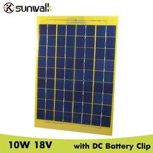 SUNWALK 10W 18V Solar Panel with DC Battery Clip Mono Solar Panel 18V Module for DIY Solar system Charging 12V Battery