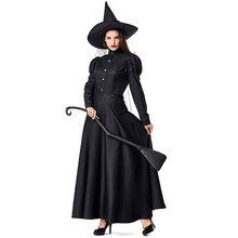 Umorden The Wizard of Oz Women Deluxe Wicked Witch Costume Black Full Length Dress Halloween Classic Witches Costumes Cosplay