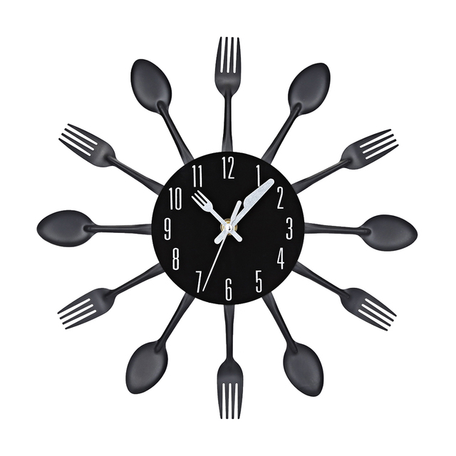 Cutlery Design Wall Clock Metal Colorful Knife Fork Spoon Kitchen