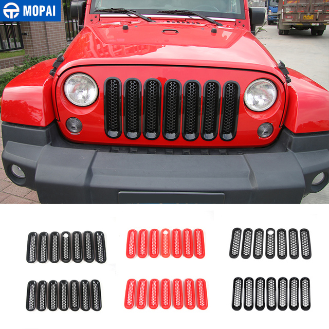 MOPAI Racing Grills for Jeep Wrangler JK 2007+ Car Front Insert Honeycomb Grille Cover Decoration for Jeep Wrangler Accessories