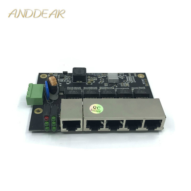 Unmanaged 5 port 10/100 M industrielle Ethernet schalter modul PCBA bord OEM Auto sensing Ports PCBA bord OEM Motherboard