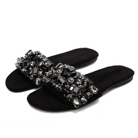 Bling Bling Crystal Bead Flat Slippers 2018 Summer Women Flats Sandals Black Beach Slippers Free Ship Home Slippers Big Size