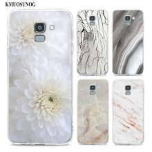 Transparent Soft Silicone Phone Case White marble flowers For Samsung Galaxy j8 j7 j6 j5 j4 j3 Plus 2018 2017 Prime