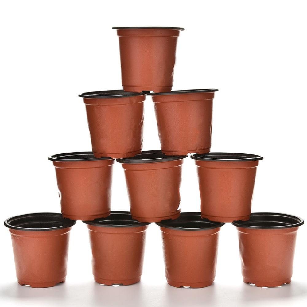 10 Pcs Set Plastic Round Flower Potnursery Pots Planter Home Garden Decor 9 X 8 X 6cm Small