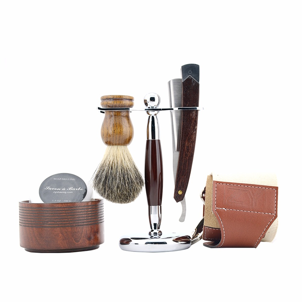 ZY Man 6pcs/set Straight Razor Shaving Razor Set Wood Folding Knife +Badger Shaving Brush+Leather Strop+Stand+Shave Soap Bowl mens badger shaving brush stand razor holder and double head safety straight razor