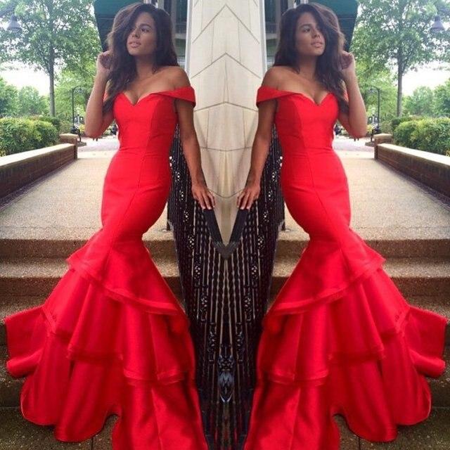 1f41685d8c10 Gorgeous Mermaid V-neck Off the Shoulder Fishtail Women Formal Dresses  Floor Length Stretch Satin Long Red Evening Dress
