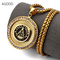 AGOOD hiphop gold chokers necklaces & pendants unisex statement free mason maxi necklace men chocker women kolye collier femme