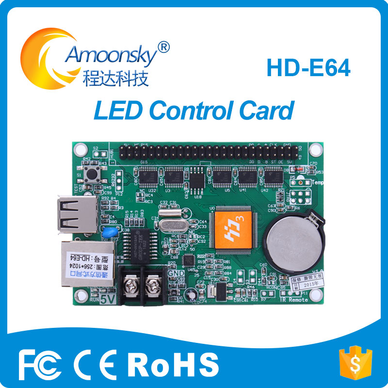 HD-E64 Led Scrolling Display Controller Single Color Led P10 Module Card With One 50PIN Port For Adverting Or Sign Screen