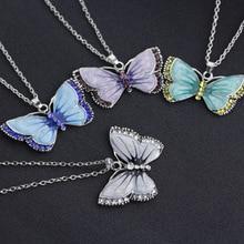 New fashion female ornament retro drip rhinestone butterfly pendant necklace cute sweater chain jewelry