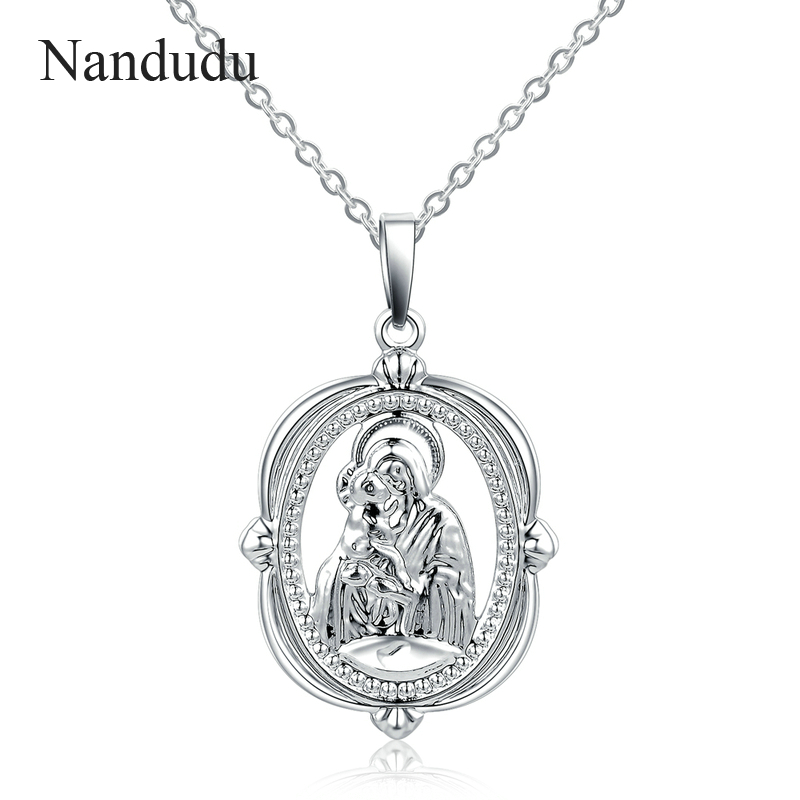 Nandudu 925 Silver Virgin Mary with Jesus Pendant Necklace for Christian Belief