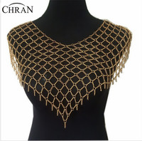 Chran New Fashion Full Beach Chain Necklace&Pendant Jewelry Alloy Gold Silver Shawl Shoulder Necklaces Jewelry For Women BY348