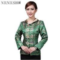 Descuento verde chino mujeres satén Chaqueta estilo clásico impresión Tang suit Appliques botón floral tamaño S m L XL XXL 3XL 4XL