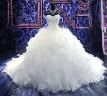 Free Shipping Real Images Puffy Ball Gown Ruffle Sweetheart Court Train Organza Wedding Gowns With Diamond And Crystal MD108