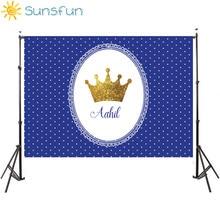 Sunsfun 7x5FT 로얄 축하 블루 다이아몬드 골드 크라운 사용자 정의 사진 배경 스튜디오 배경 비닐 220x150cm