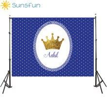 Sunsfun 7x5ft celebração real azul diamantes coroa de ouro personalizado foto fundo estúdio pano vinil 220x150cm