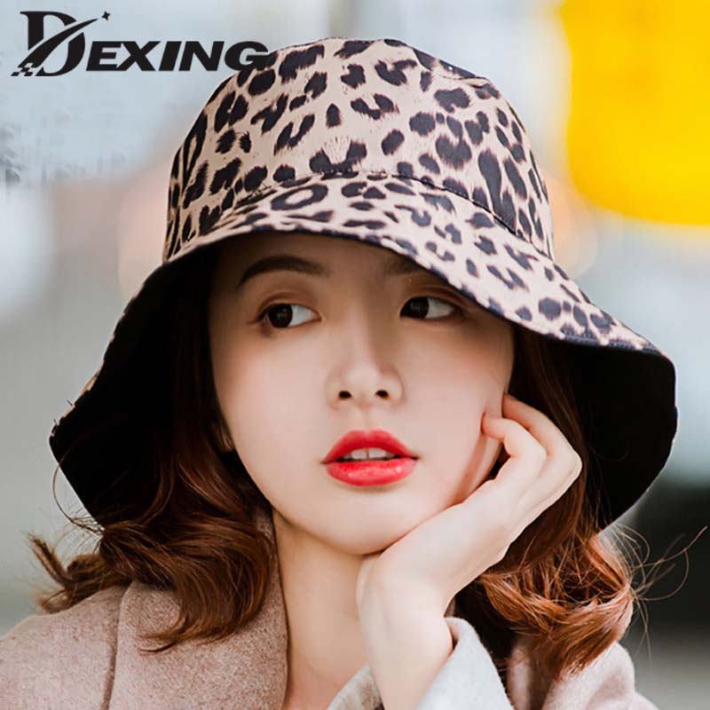 2019 Two Side Double Floppy Sun  Hat For Women Leopard Reversible Bucket Hat Seaside Vacation Cap Summer Ladies Korean Beach Hat