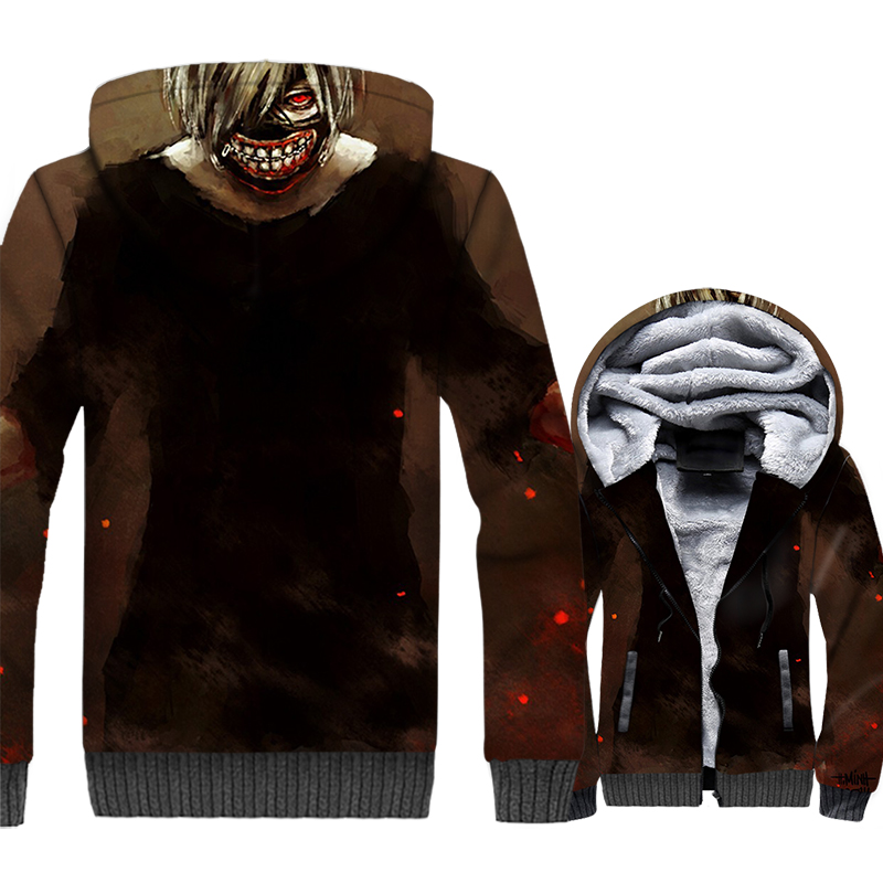 novelty funny 3D Printed jackets jacket 2019 winer men sportswear sweatshirts tracksuits Anime Tokyo Ghoul hoodies coats M 5XL in Hoodies amp Sweatshirts from Men 39 s Clothing