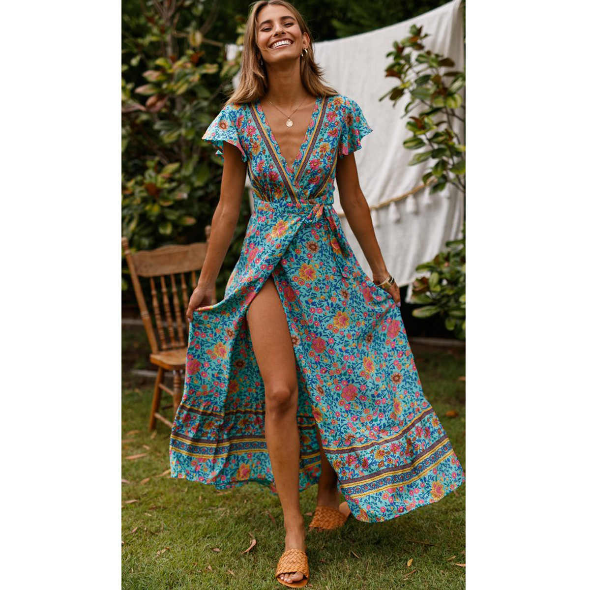 ... Jastie Green Floral Print Wrap Dress Short Butterfly Sleeves Boho  Summer Dresses V-Neck Women ...