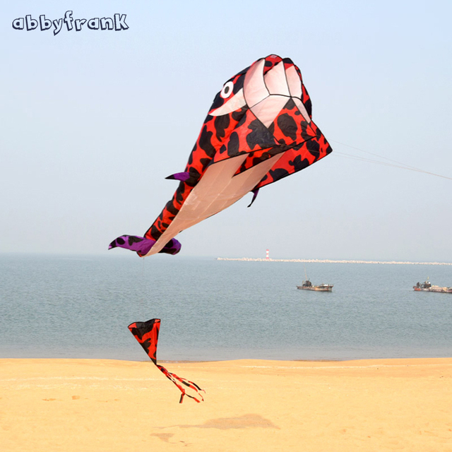 Abbyfrank 2.1M Dolphin Whale Software Flying Kite With ABS Round Handle  360M Line Outdoor Game