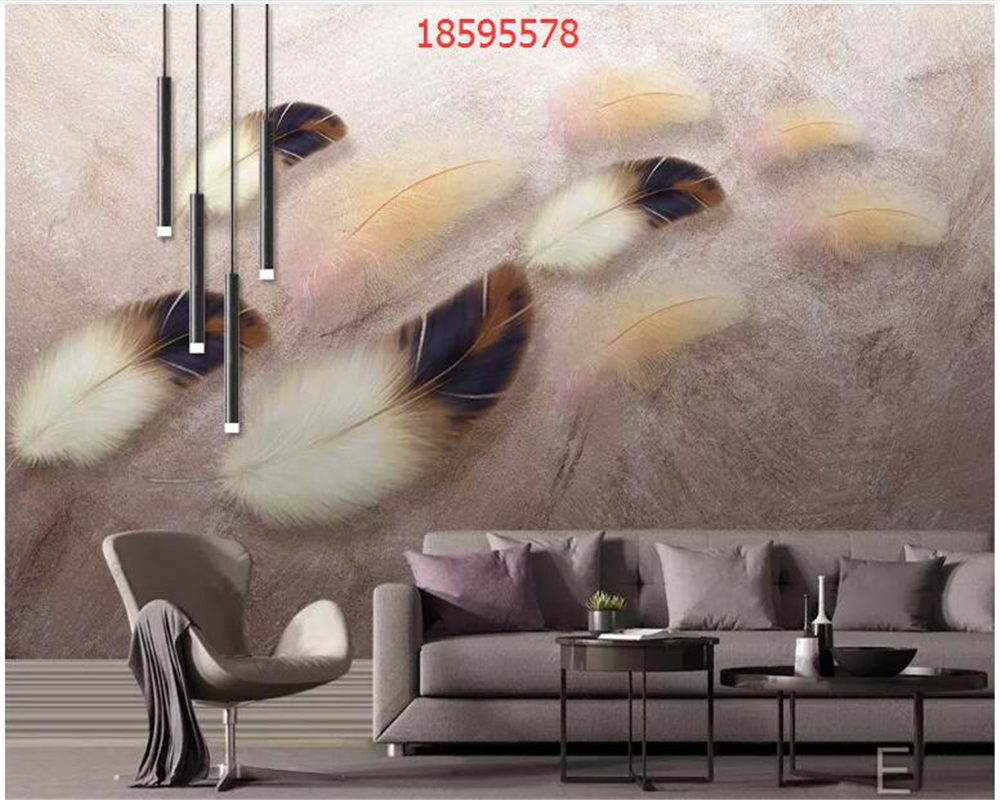 Купить с кэшбэком beibehang Customized modern minimalist hand-painted colored feather texture art background wall home decoration wallpaper behang