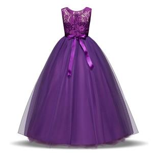 Image 2 - JaneyGao פרח ילדה שמלות לחתונה מסיבת ארוך סגנון נערה שמלת ראשית הקודש תחרות שמלות לבן סגול חם