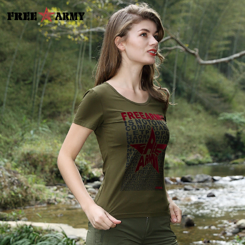 FreeArmy Summer Tees Frühling Kurzarm T-Shirt Casual Women T-Shirt - Damenbekleidung - Foto 2
