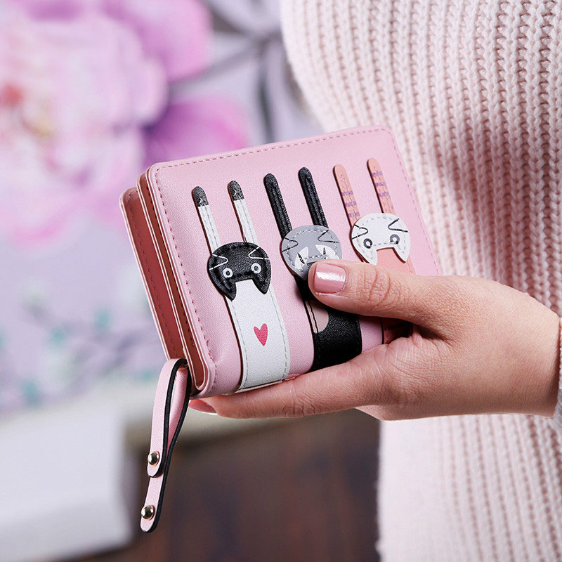 2017unistyle New Women Cute PU Leather Hasp Cartoon Cat Short Wallet Animal Change Purse Card Holder Girls Handbag 2016 new arriving pu leather short wallet the price is right and grand theft auto new fashion anime cartoon purse cool billfold