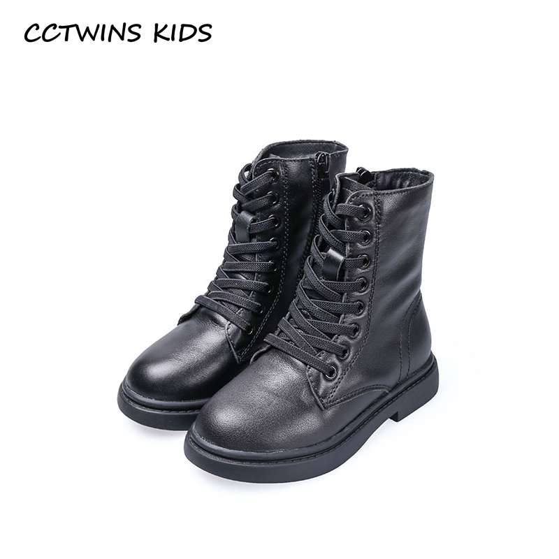 CCTWINS KIDS 2018 Winter Baby Boy Brand Martin Boot Children Fashion Mid Calf Boot Girl Genuine Leather Warm Shoe BM051