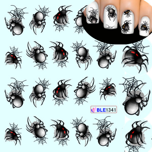 1 Sheet Halloween style Spider Water Transfer Nail Art Stickers Manicure Decoration Nails Wraps Decals Styling Tools SABLE1341 1 sheet beautiful nail water transfer stickers flower art decal decoration manicure tip design diy nail art accessories xf1408