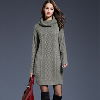 2017 Women Fashion Knitted Cotton Solid Color Turtleneck Sweater Dresses Plus Casual Sexy Autumn Winter Knit