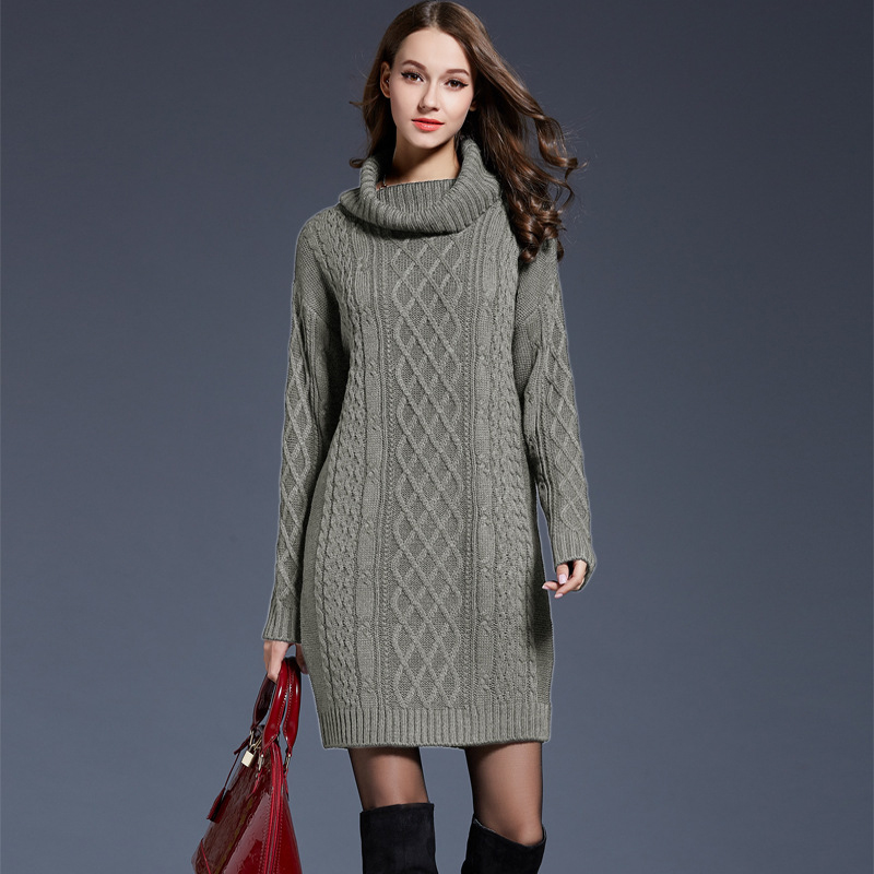 2018 women fashion turtleneck thick sweater dresses plus