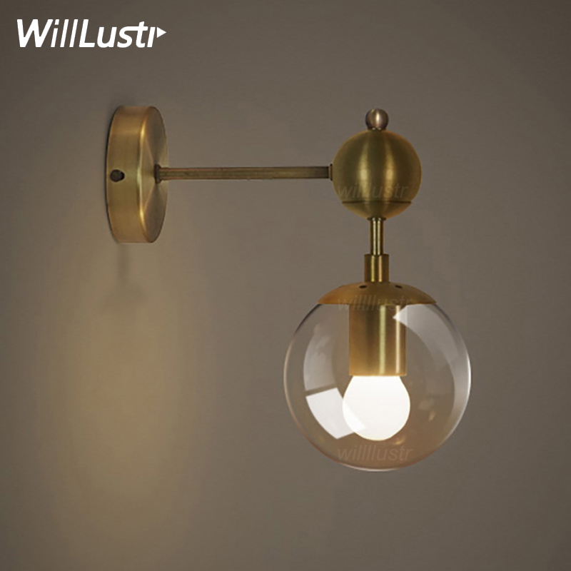 Gold Modo Wall Lamp Modern Wall Sconce Iron Wall Lights 1 Globe 2 Globes  Golden Color Modo Wall Light Glass Shade Lighting In Wall Lamps From Lights  ...