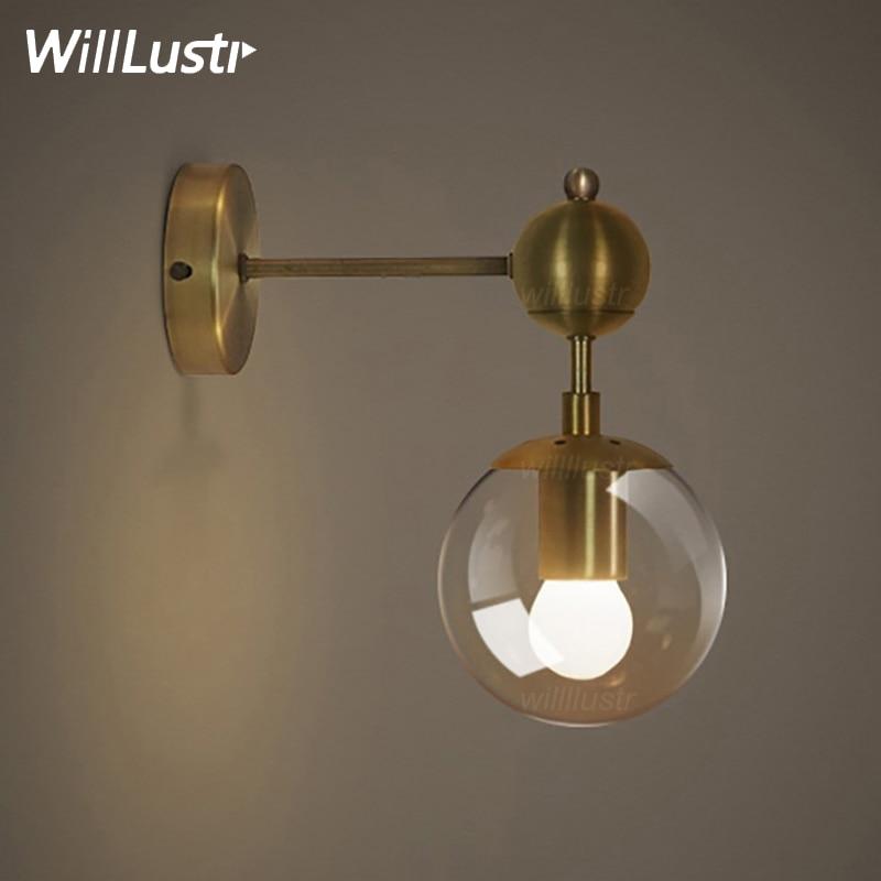 Gold wall lamp modern wall sconce iron light fixture 1 globe 2 globes golden color wall light global glass ball shade lighting