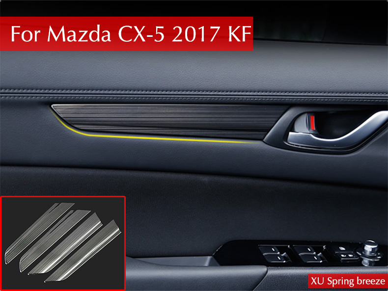 For Mazda CX-5 CX5 2017 2018 KF Car Interior Door Handle Handrail Panel Cover Trim Strip Decoration Car Styling 4pcs/set for mazda cx 5 cx5 2017 2018 kf 2nd gen car co pilot copilot stroage glove box handle frame cover stickers car styling