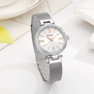 Image 3 - Mode Marke CURREN Kristall Design Quarz Damen Armbanduhren Edelstahl Mesh Band Casual Frauen Uhr Damen Uhren Geschenk
