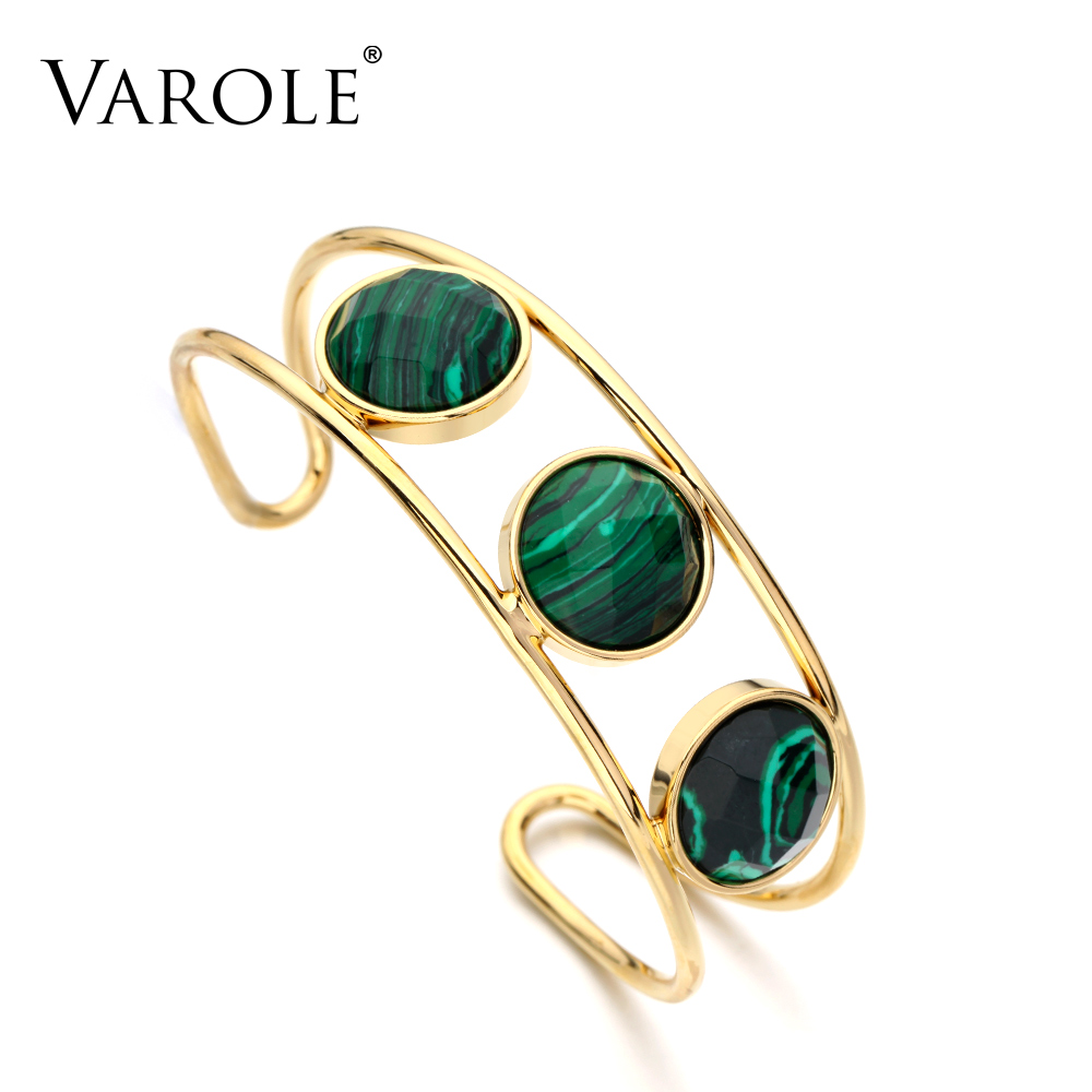 VAROLE New Arrival Gold Color Stainless Steel Love Cuff Bracelets Bangles for Women Indian Jewelry stylish stainless steel the great wall carving chunky cuff ring for women