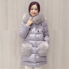 2016 Winter Womens Parka Coats Long Wadded Jackets Fashion Slim Big Fur Collar Solid Long Cotton-padded Jacket Outerwear M-XXL