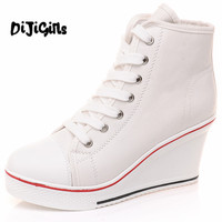 Free Shipping 2017 Badge Wedges High Lacing Casual Elevator Shoes Female Canvas Shoes High Top Wedge