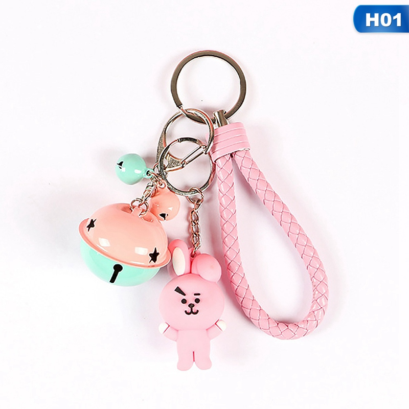 1PC KPOP BTS BT21 Cartoon Keychain Key Holder Chain Bag Pendant Accessories Keyring Jewelry good fortune lucky keychain wood car bag purse keychain keyring amulet pendant boxwood wooden inlay woodwork key accessories
