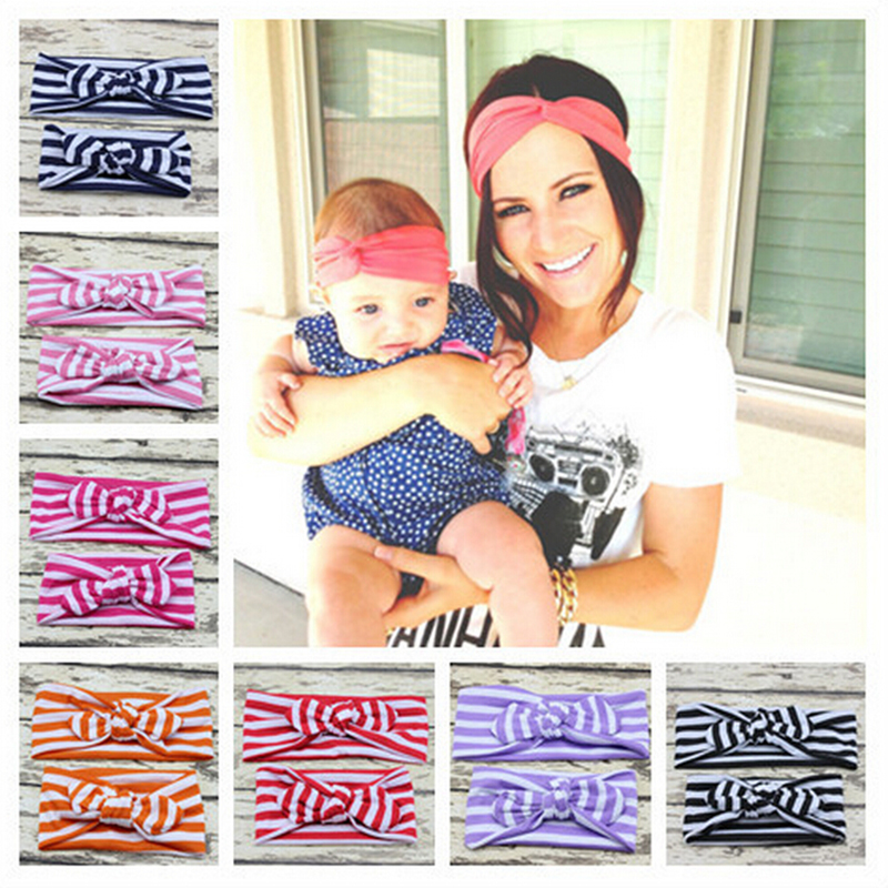 New 1 Set Mom and Me Matching Turban Headband For Hair Accessories Fashion Stripe Headband Mommy and Baby Topknot Headband Set
