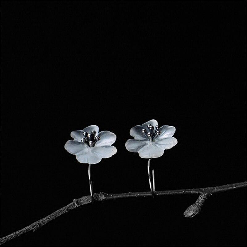 Lotus Fun 925 Sterling Silver Earrings Handmade Natural Designer Fine Jewelry Flower in the Rain Fashion Drop Earrings for Women