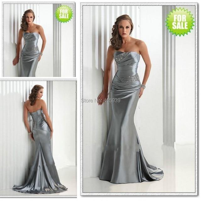 Vestido gris para boda de noche