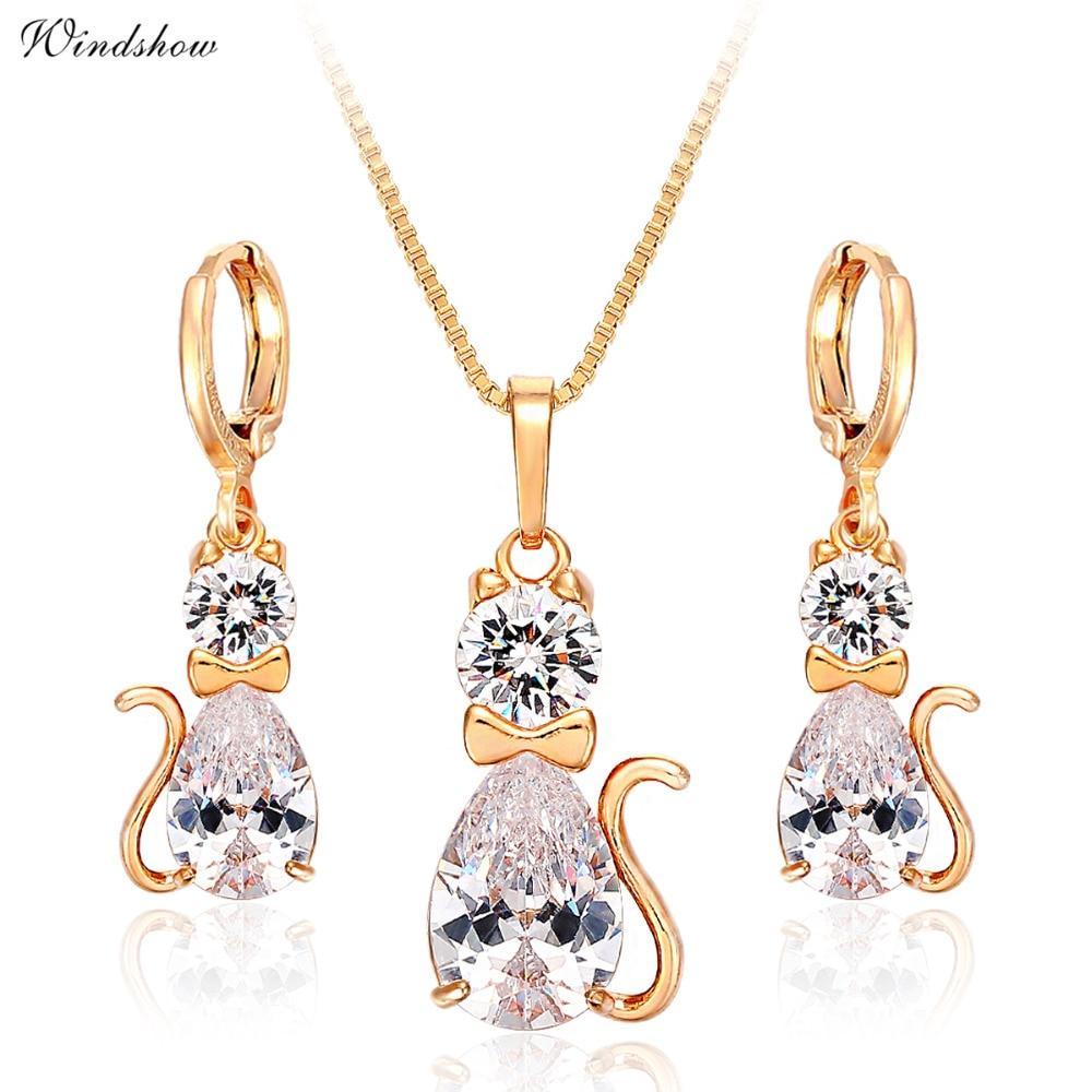 Cute Kitty Cat Kitten Cz Pendant Necklace Drop Earrings Jewelry Sets For  Women Gold Color Jewellery