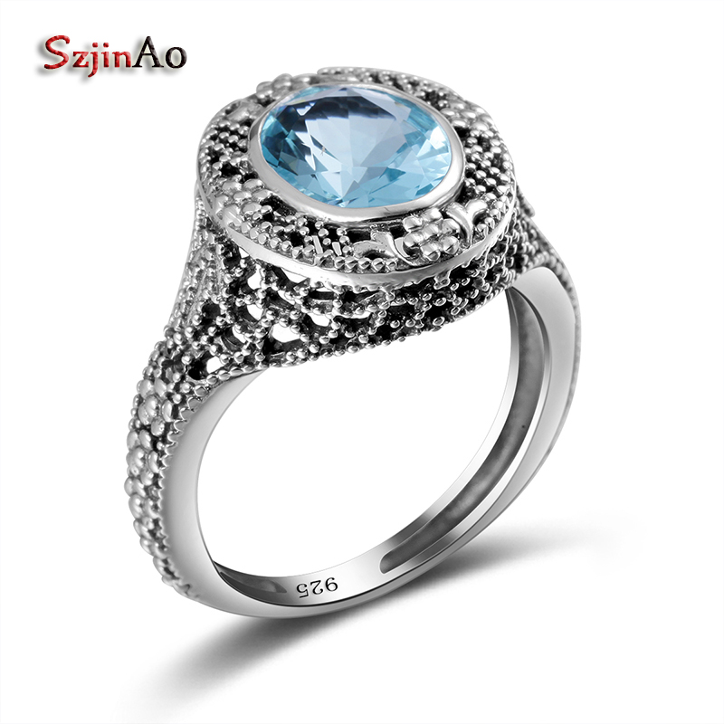 Szjinao Blue Austrian Aquamarine Big Rings For Women Round Cut Vintage Party Adornment 100% 925 Sterling Silver Jewelry