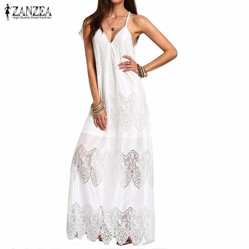 Vestido De Festa Fashion Long Dresses 2018 Womens Summer Beach Wear White Deep V Neck Split Slip Sleeveless Maxi Dress Plus Size