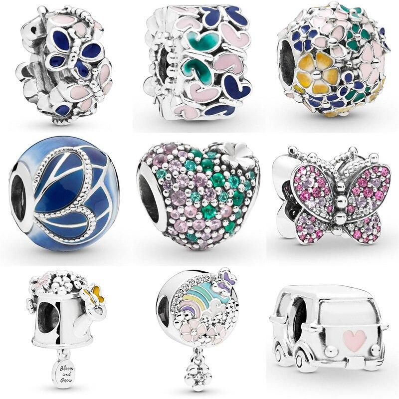 Venda quente Grânulos de Prata Flor Do Coração da Borboleta de Cristal Esmalte Coração Bead Para 925 Original Pandora Charm Bracelets & Bangles Jóias